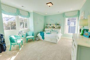 Tropical Kids Bedroom with flush light, Pottery Barn Teen Beadboard Storage Bed + Hutch, Art desk, Crown molding, Mural