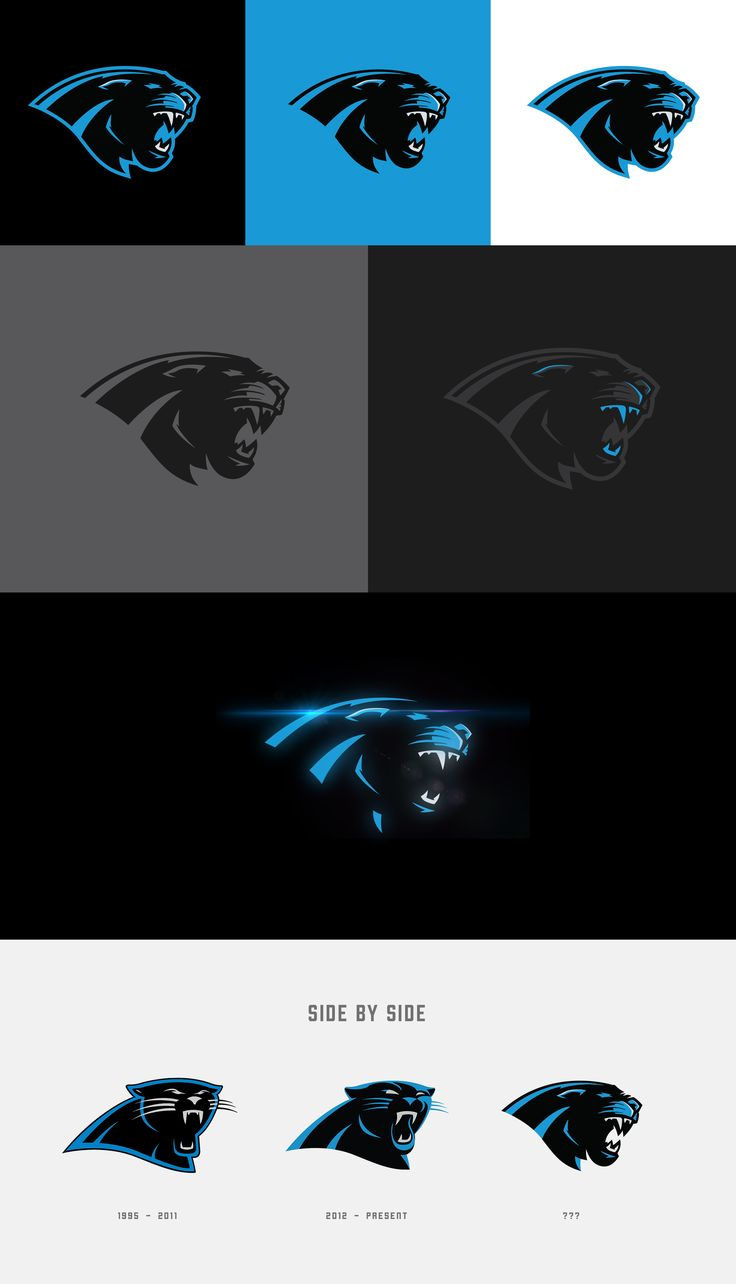 """Webpixum approached a case study rebrand of the Carolina Panthers. The motivation was to help elevate the existing """"Panther"""", wordmark, and uniform design, as well as build additional assets that work well with the brand. NOTE: This logo is not an officia…"""
