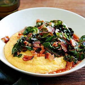 Spicy Rainbow Chard with Bacon and Polenta Recipe | MyRecipes.com Mobile. Omit red chili flakes for the Boo.