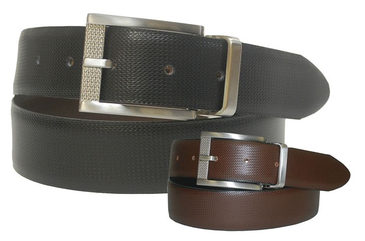 Reversible Leather Strap Belt with a Brushed Nickel Texture Pattern Twist Harness Buckle - $50.00