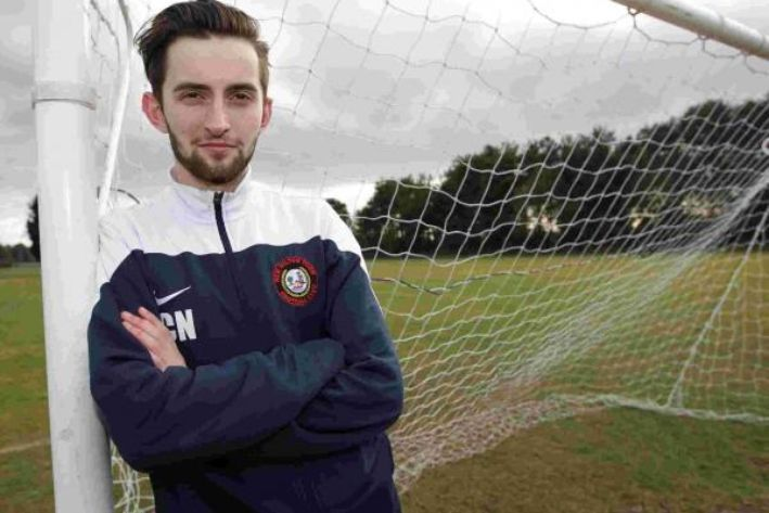 Connor Natella, assistant soccer coach, with New Milton Town football club in the Wessex Football League - See more: http://www.outsports.com/2015/2/25/8106367/assistant-pro-soccer-coach-connor-natella-gay-coming-out