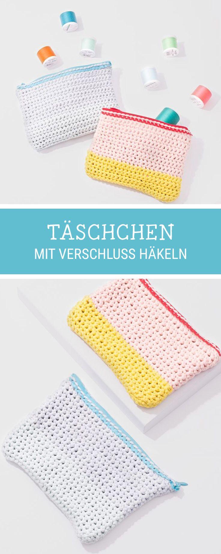 DIY-Anleitung: Täschchen mit Verschluss häkeln, #Häkelanleitung für eine kleine Tasche / #crochetpattern for a small purse with zipper via DaWanda.com #dawandaandfriends