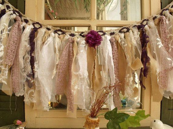 Vintage Lace déchiré Rag Bunting romantique pourpre cantonnière tissu guirlande mariage Chic minable