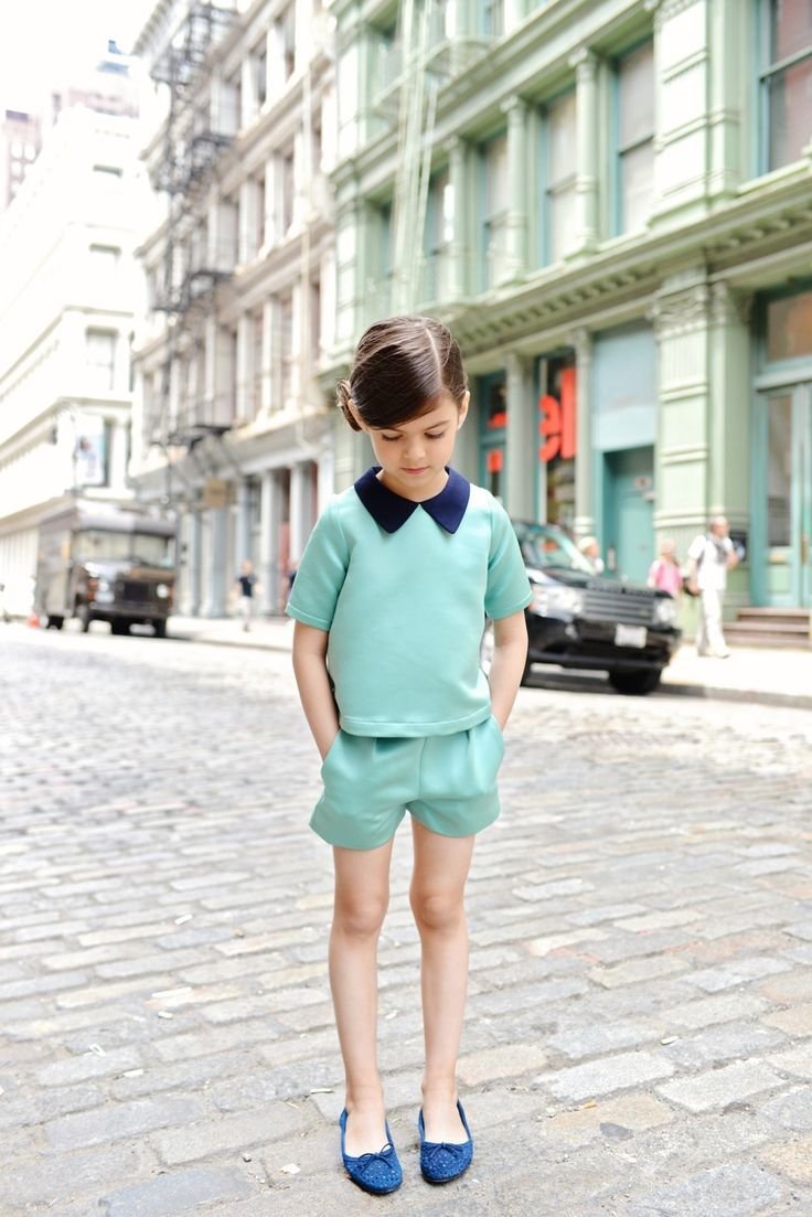 Good grief that's an adorable outfit. Mint with a hint of navy. Gina Kim Photography #designer #kids #fashion