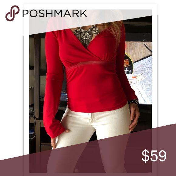 Armani Exchange Long Sleeve Top Armani Exchange Long Sleeve Red Top A/X Armani Exchange Tops