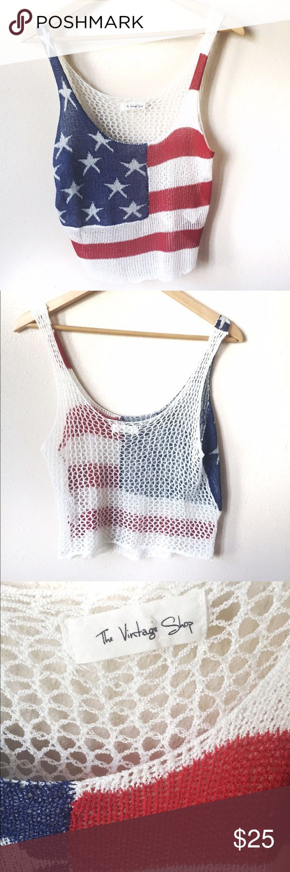 American Flag crop top open crochet / net back Show your style this season with this crochet / net back crop style top. Complete the look with Converse, cut offs & mirrored sunglasses. Size medium. NWOT Tops Crop Tops