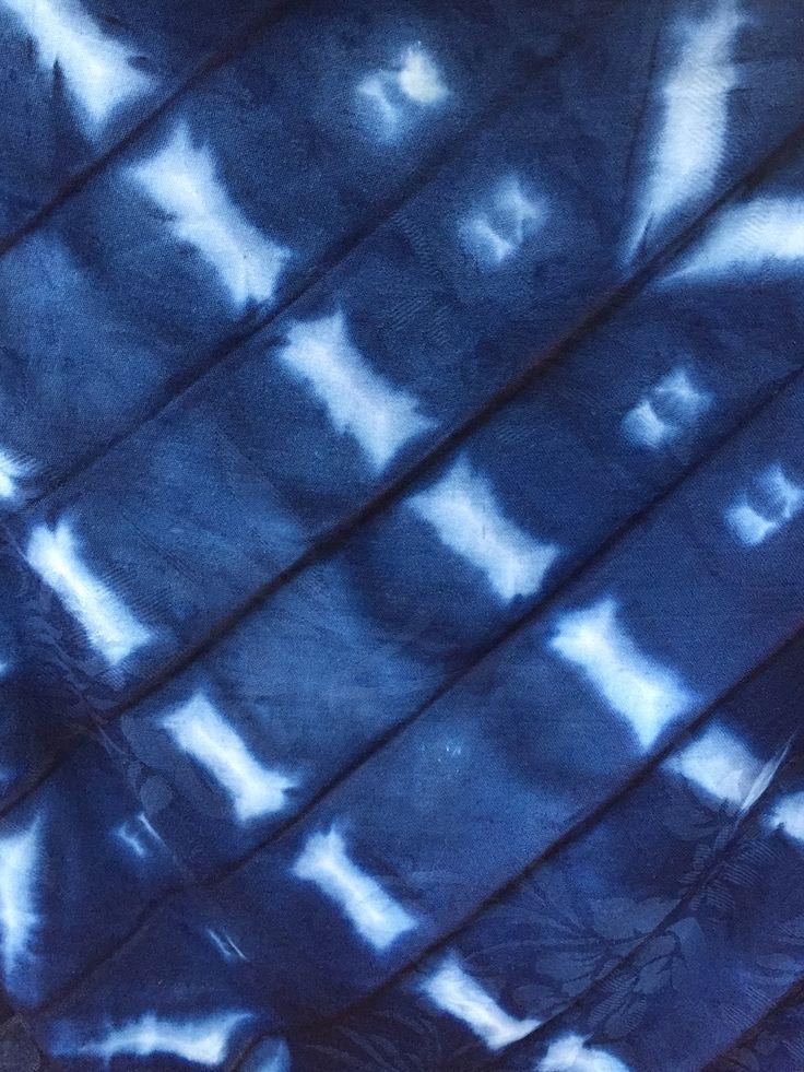 Folding and clamping shibori with indigo