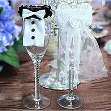 Doprava zdarma 2 PCS Nevěsta a ženich Tux Bridal Veil Wedding Party opékání sklenice Decor (Čína (pevninská část))