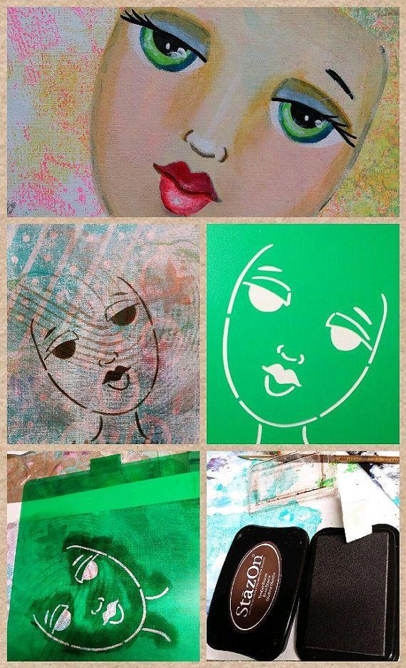 STENCIL Original face stencil Fantasy Face use by ODDimagination