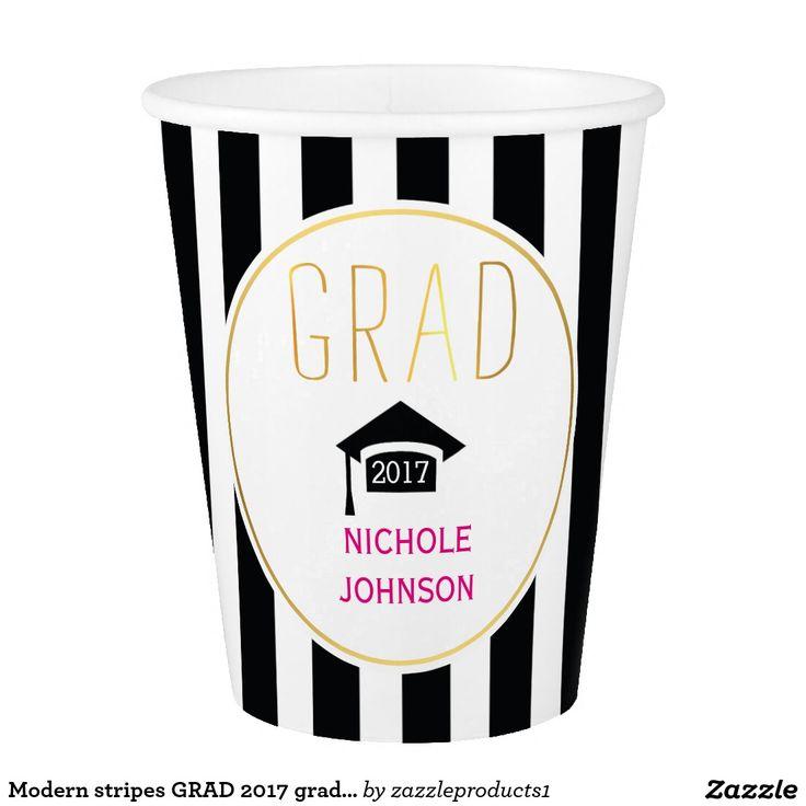 Modern stripes GRAD 2017 graduation cap Paper Cup