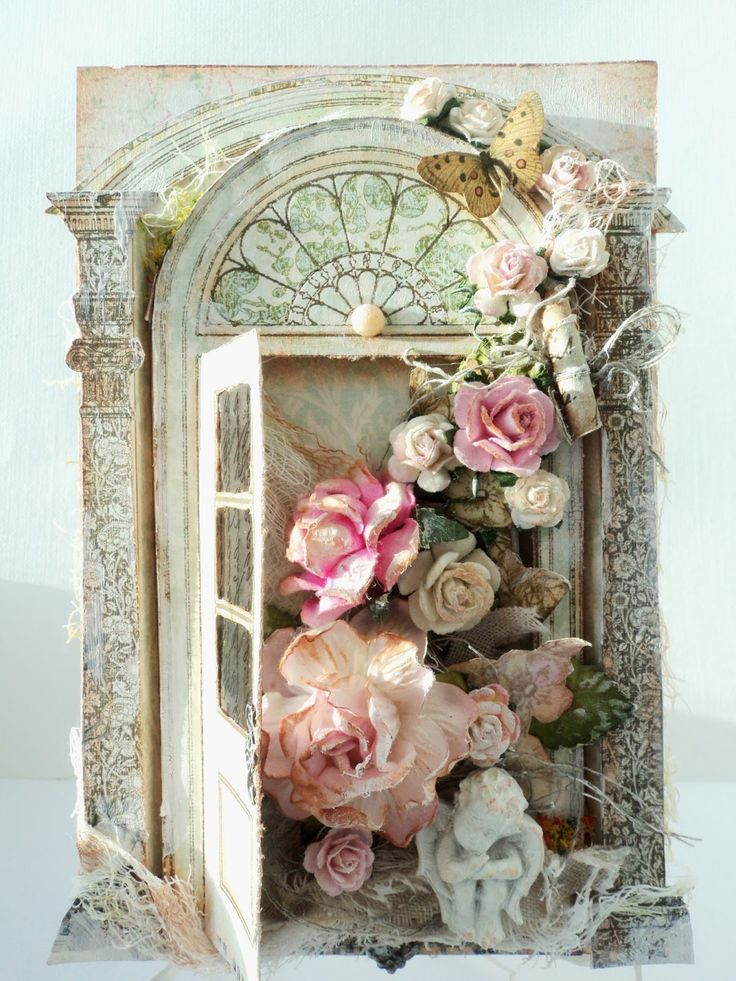 G A S P !!!! AMAZING HANDMADE CARD GORGEOUS ROSES VINTAGE VICTORIAN SHABBY CHIC