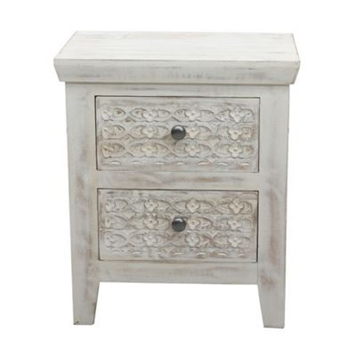 Boasting rustic-inspired charm, our 'Ashoka' range will suit a variety of bedroom settings. The narrow bedside cabinet is made from solid mango wood with a distressed effect that is characteristic of the range and is detailed with floral carvings. Spacious drawers offer plenty of room for storage and feature metal round pull handles.