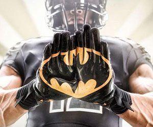 Superhero Football Gloves - https://tiwib.co/superhero-football-gloves/ #Batman #gifts #giftideas #2017giftideas #xmas
