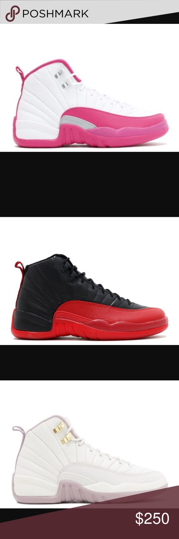 Jordan 12's Hot pink and White, red and black, light pink and white, and black, gold and white that's all that we have for the 12's . MEN AND WOMEN Jordan Shoes Sneakers