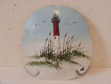 "4.5"" HAND PAINTED SAND DOLLAR RED WHITE LIGHTHOUSE BEACH SEGULLS SIGNED KO"
