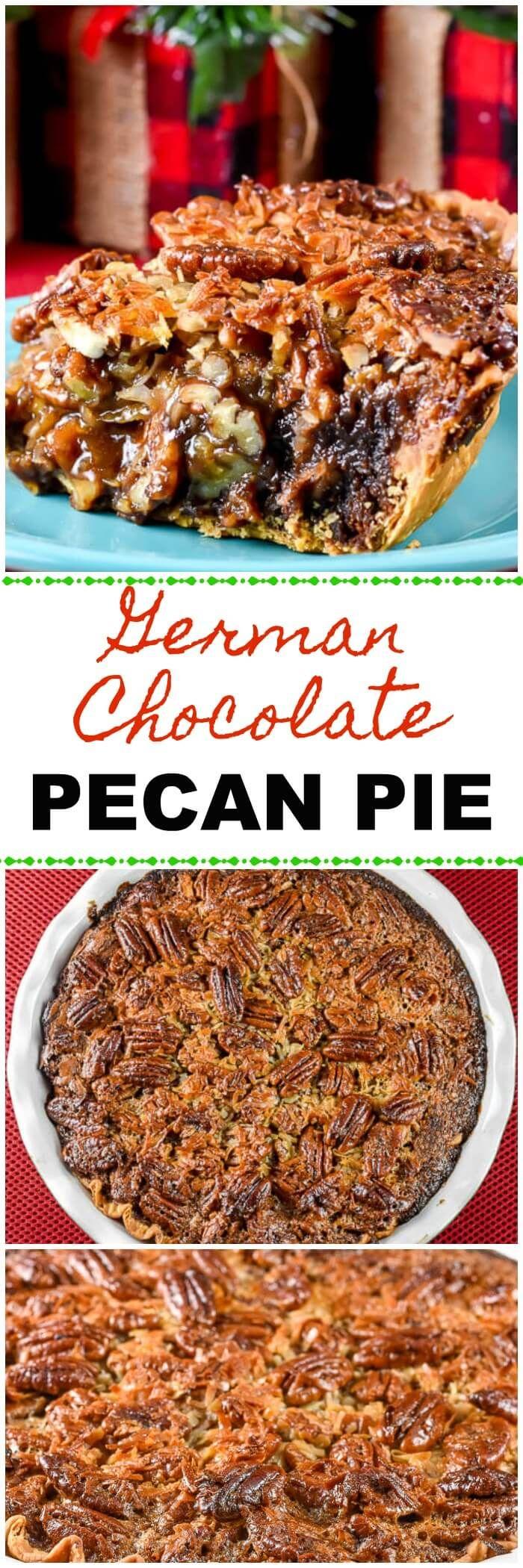 This German Chocolate Pecan Pie combines German Chocolate Cake and Pecan Pie into one fabulous holiday dessert!  #GermanChocolatePecanPie #PecanPie #HolidayDessert via @flavormosaic