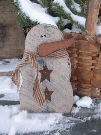 odd primitive crafts | Home > Winter Country Crafts > Country Primitive Chunky Snowman with ...