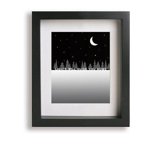 Fix You / Coldplay - Music Lyric Art Print - birthday gift, typography print, wedding gift, gift idea, black and white, snow, twilight