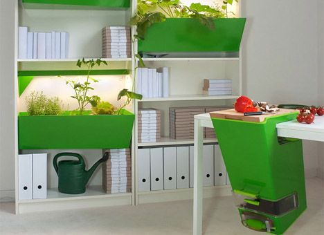 This is an interesting concept combining worm composting with vertical wall gardening in your kitchen.  This idea really can work in small spaces.  We are not sure of the price, but the idea is something that can be integrated using materials that can be found at a local building store like tupperware bins and hanging planters.