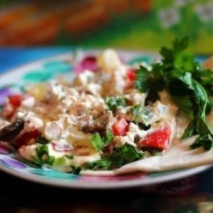Salad from pineapples, chicken and mushrooms. Recipes with photos.