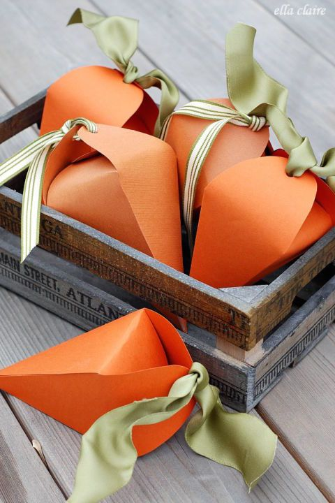 CARROT BOXES – Tied with a soft green ribbon, these carrot goody boxes could pass as Easter decor — although we're sure the prize inside makes opening them more than worth it. Click through for the entire gallery and for more easter gifts.