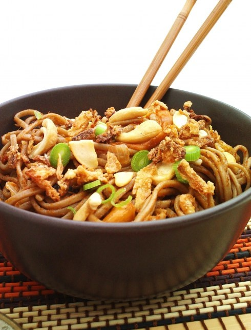 Malaysian Fried Noodles~ olive oil, sesame oil,mushrooms, chinese cabbage, carrot, celery, chilli bean paste, soba noodles (or egg noodles), spring onions, garlic, For the sauce: sesame oil, ginger, garlic