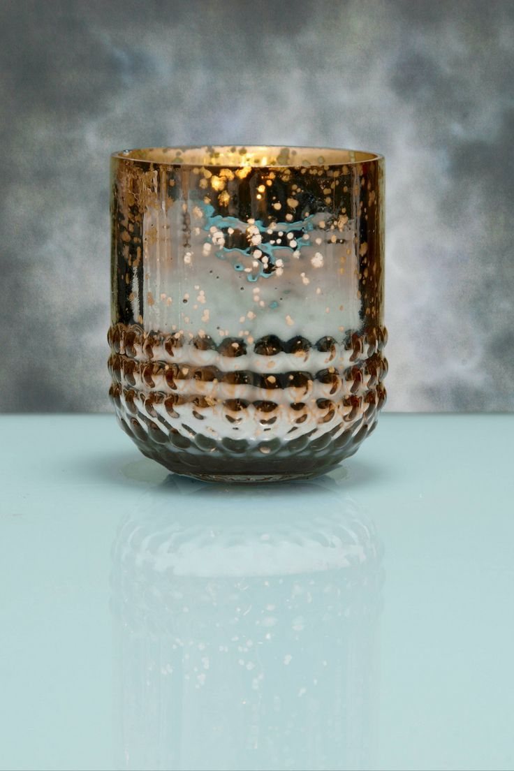 """6 Array Gold Votive Holders Mercury Glass for $19.99 3"""" tall x 2.6"""" wide"""