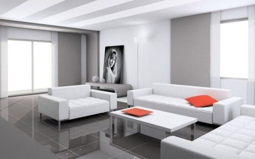 Modern Minimalist Living Room With Red and White Design 8