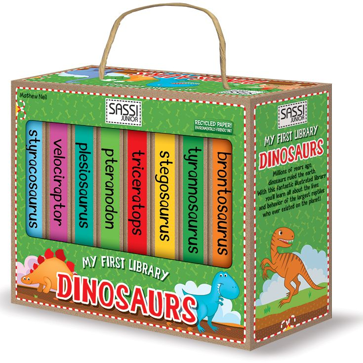 #Sassi Junior: My First Library - Dinosaurs. 8 books with 10 coloured pages each. #eco #friendly #book #game
