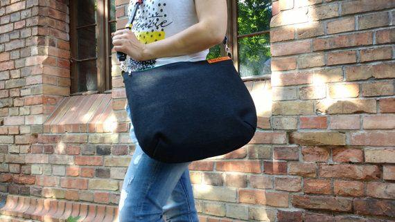 Big messenger bag crossbody bag with black leather by bandabag