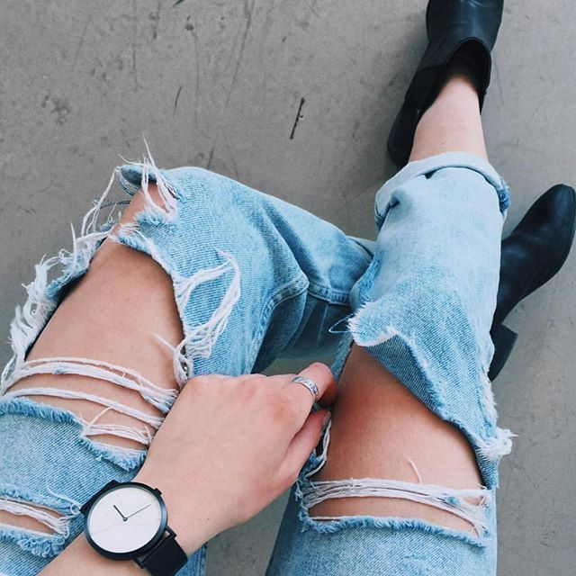Sundays in ripped denim, boots and the White Marble Deon Dane watch  : @beautyrewritten