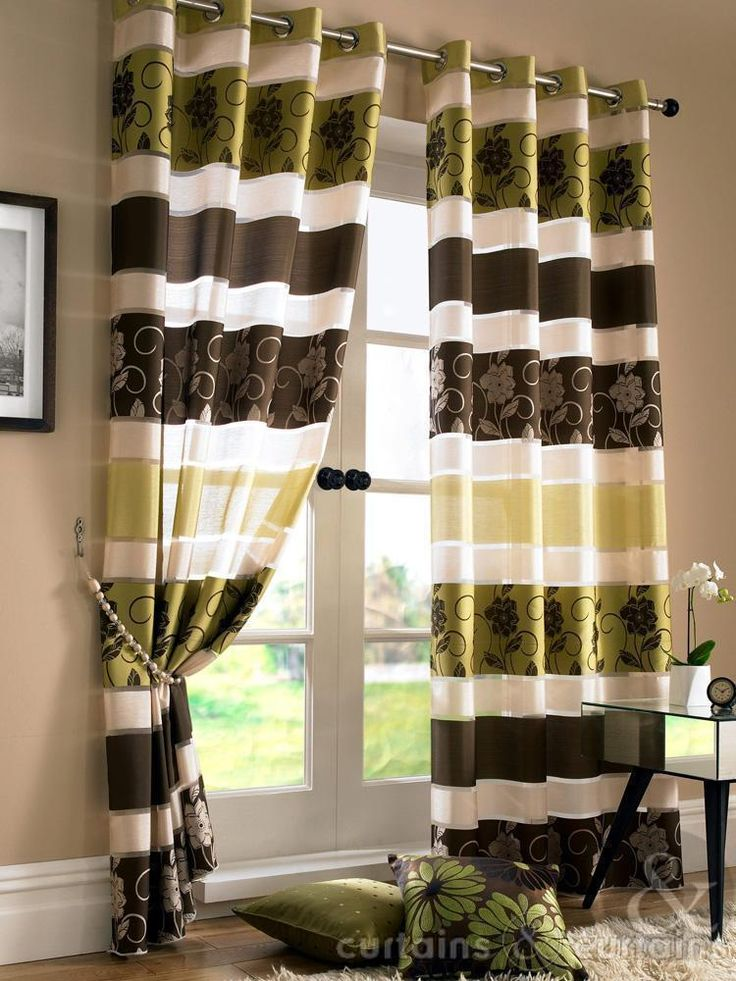 Jasmine Floral Embroidered Brown & Green Voile Eyelet Curtain - Curtains UK