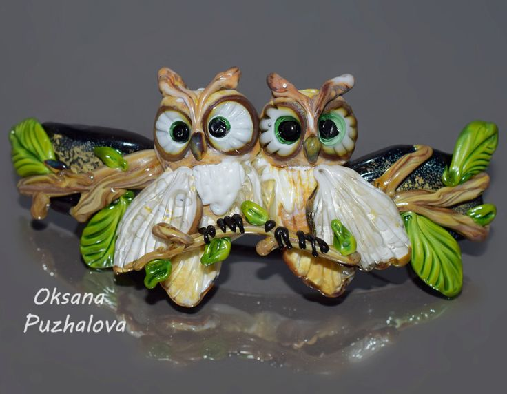 Glass hair barrette for thick and middle  hair with white owlets on the branch. Lampwork handmade french hair clip gift for her by OxanaPuzhalova on Etsy