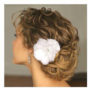 .Hair Ideas, White Flower, Beach Wedding Hair, Wedding Updo, Beach Bride, Curls, Hair Style, Wedding Hairstyles, Curly Hair