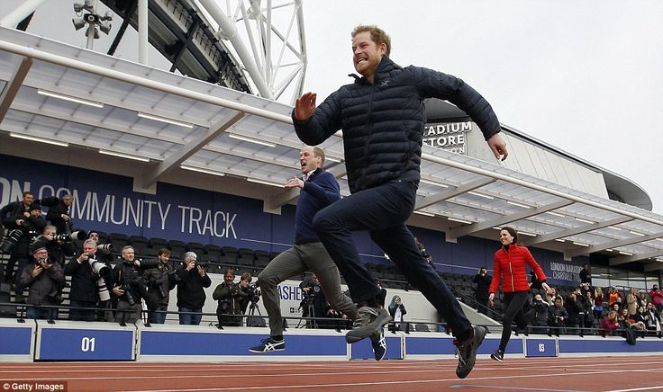 Although the Duchess had a strong start to the race it didn't take William and Harry long to over take her