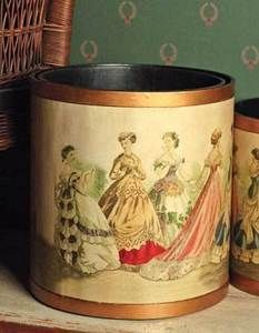 VINTAGE VICTORIAN STYLE Ladies WASTE BASKET Trash Can Paper Gold Details