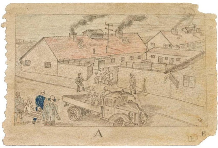 "The ""Häftlingskrankenbau"" in Auschwitz-Birkenau. In Block 8 (rechts) were patient who had a chance of recovery. This drawing was made by an unknown KZ prisoner who signed the drawings with MM."