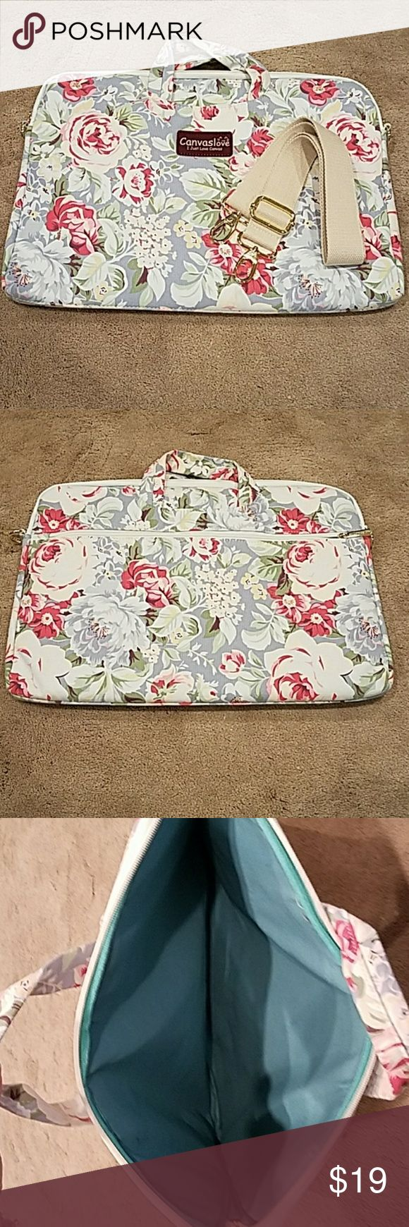 Laptop Carry Case Brand New floral print canvas carrycase for laptop by Canvaslove. Pinks/grays/green/blues Large outer zippered pocket with multiple compartments inside. Removable/Adjustable shoulder strap canvaslove Bags Laptop Bags