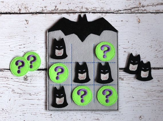Batman Tic Tac Toe ITH Embroidery Design by UncleMattsCrib on Etsy, $5.00