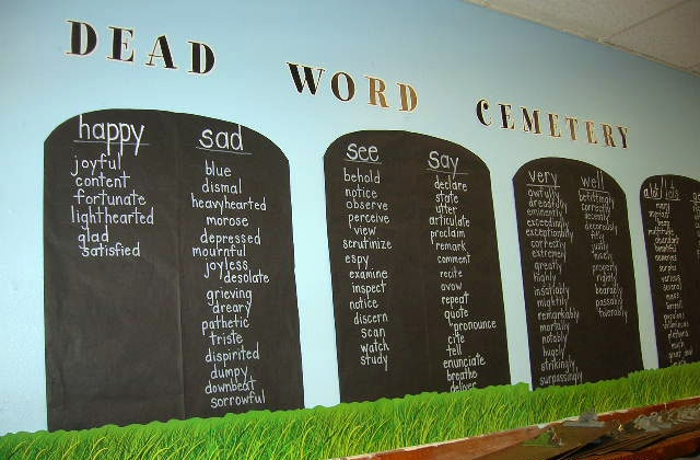 Grave Stones identify the words being retired and the synonyms that can be used to replace them.: