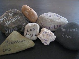 Collect a rock from everywhere you travel to as a keepsake memory - tie a tag onto the rock instead of writing on it