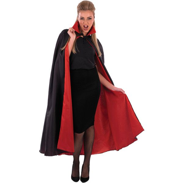 Vampire Cape With Red Lining (€14) ❤ liked on Polyvore featuring outerwear, red cape, cape coat, red cape coat, long cape coat and long red cape
