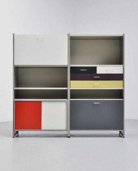 Andre Cordemeijer; Enameled Metal Storage Unit from the Modular 5600 Series for Gispen Culemborg, 1962.