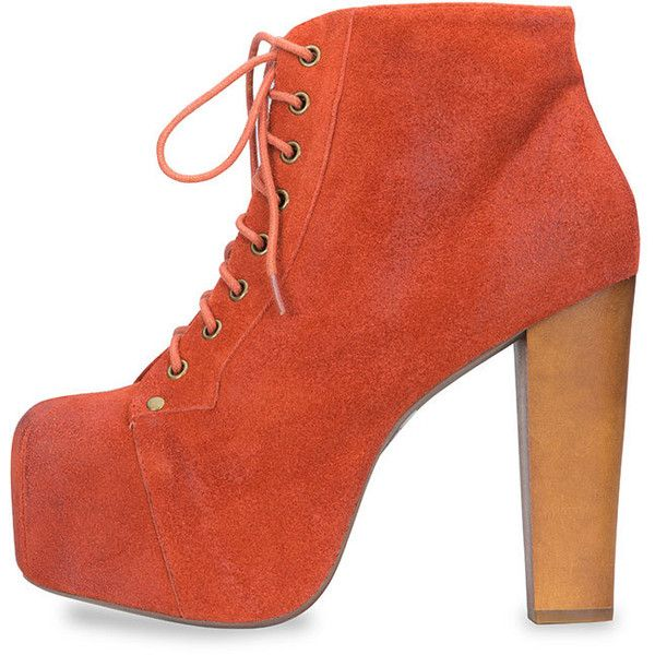 Jeffrey Campbell Lita Orange Ankle Boot ($149) ❤ liked on Polyvore featuring shoes, boots, ankle booties, heels, high heel bootie, suede boots, high heel ankle booties, ankle boots and platform ankle boots