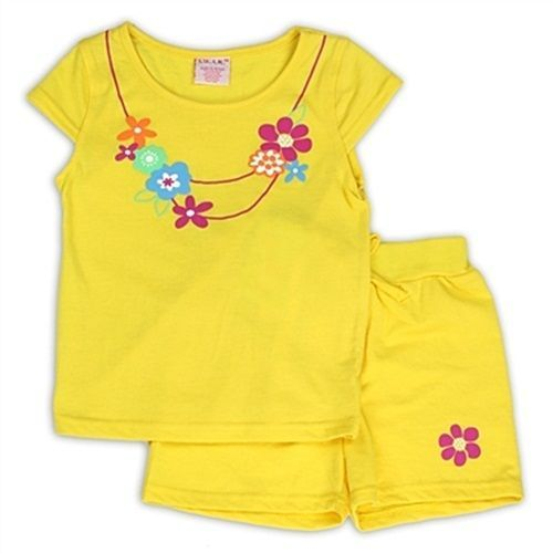 SWAK 2 PC Outfit S M L Yellow Shirt Shorts Set Girls Flowers 4 5/6 6X S.W.A.K. #SWAK #Everyday