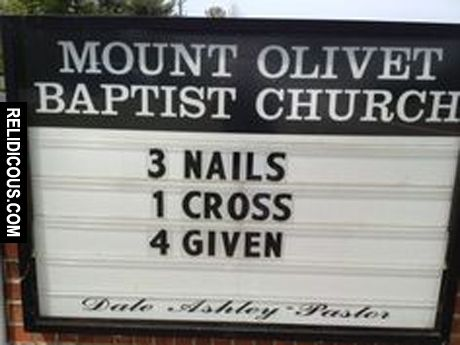 Image result for 1 cross + 3 nails church sign