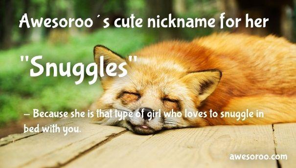 snuggles cute girlish nickname