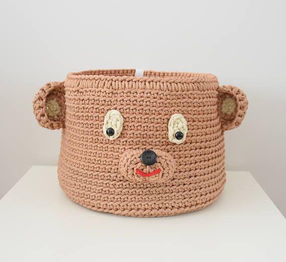 Crochet toy basket Teddy bear Crochet bear Storage basket Toy