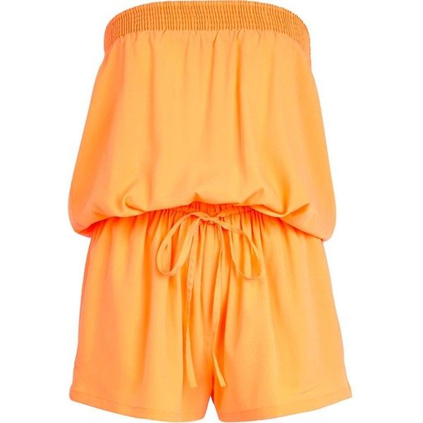 River Island Orange bandeau waisted playsuit (¥1,170) ❤ liked on Polyvore featuring jumpsuits, rompers, playsuit, playsuits / jumpsuits / overalls, river island, orange, sale, yellow overalls, yellow bandeau top and jump suit