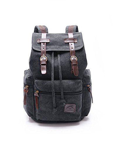 dayan hommes femmes vintage toile sac dos robuste retro cole backpack pour sports de plein. Black Bedroom Furniture Sets. Home Design Ideas